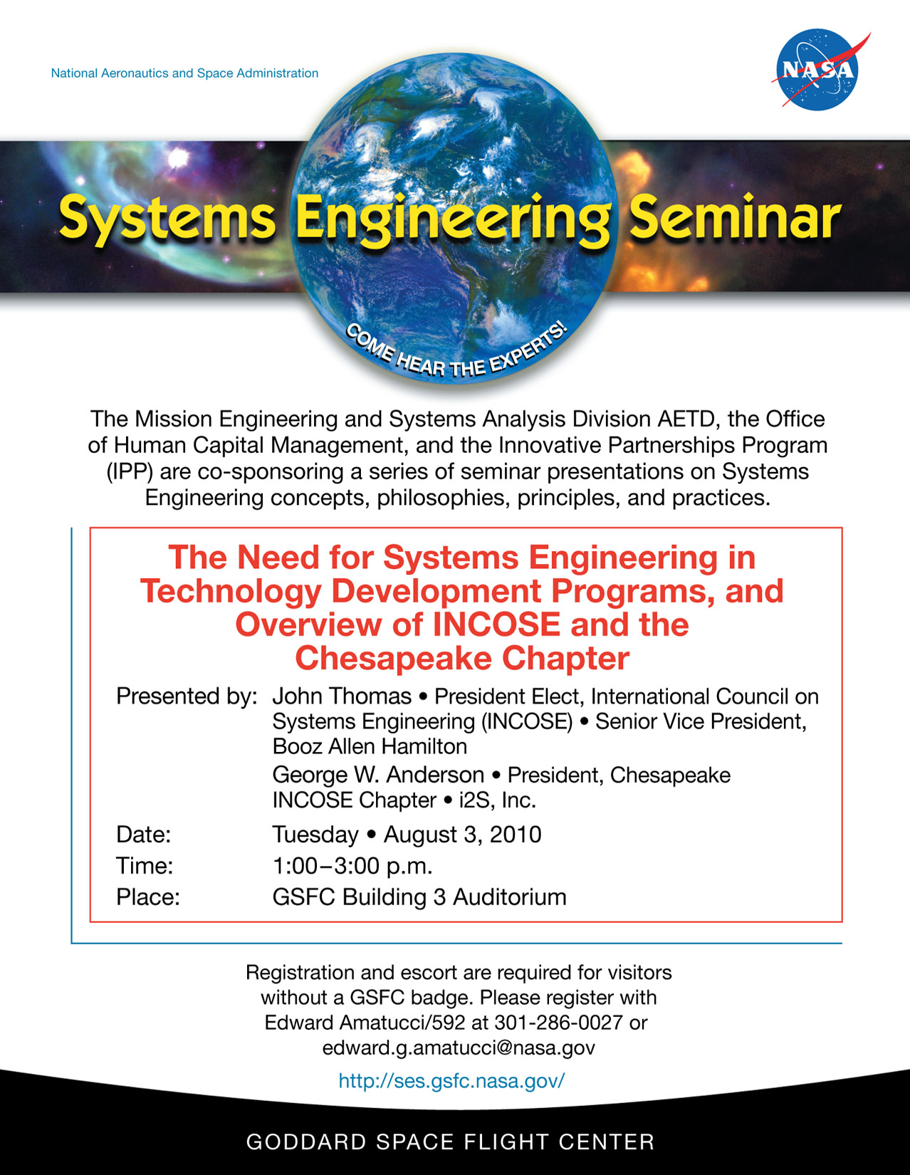 August 3 2010 Incose Speaks With The Systems Engineers At Nasa